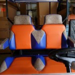 Custom two tone seats with gator skin look inserts - many color options available!