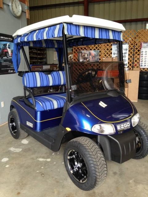 Gulf Atlantic Vehicles Blue Golf Cart